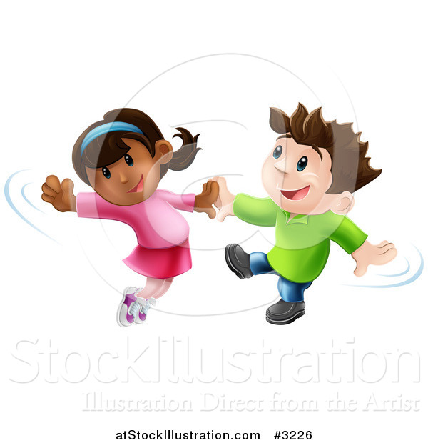 Vector Illustration of a Happy Boy and Girl Jumping and Dancing Together