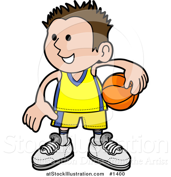 Vector Illustration of a Happy Boy in Uniform, Holding a Basketball on His Hip