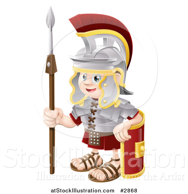 Vector Illustration of a Happy Boy Roman Soldier with a Shield and Spear