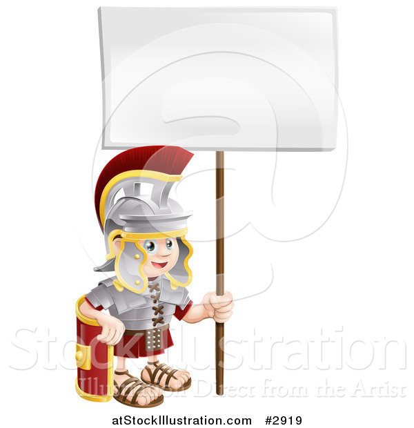 Vector Illustration of a Happy Boy Roman Soldier with a Sign