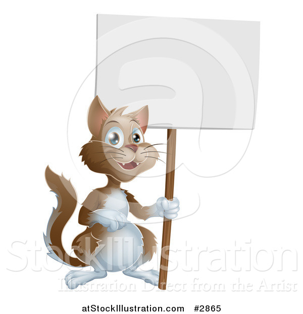 Vector Illustration of a Happy Brown and White Cat Holding up a Sign