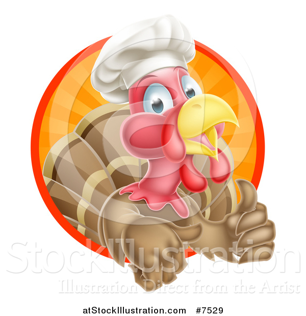 Vector Illustration of a Happy Brown Chef Chicken Giving a Thumb up and Emerging from a Circle of Sunset Rays