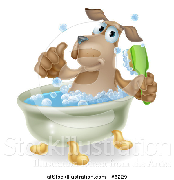 Vector Illustration of a Happy Brown Dog Soaking in a Bath, Giving a Thumb up and Holding a Scrub Brush