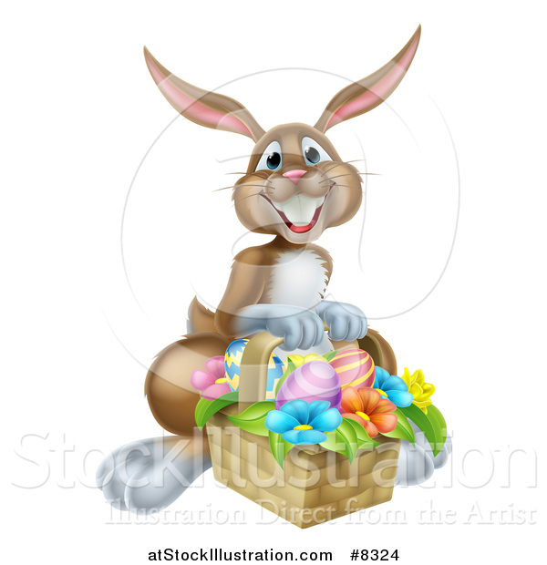 Vector Illustration of a Happy Brown Easter Bunny with a Basket of Eggs and Flowers