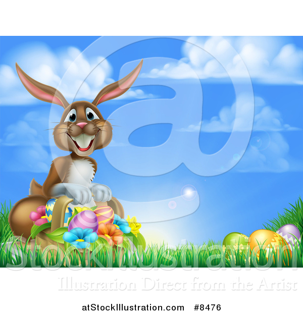 Vector Illustration of a Happy Brown Easter Bunny with a Basket of Eggs and Flowers in the Grass, Against a Blue Sky