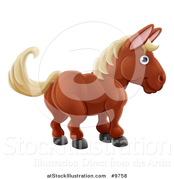 Vector Illustration of a Happy Brown Horse