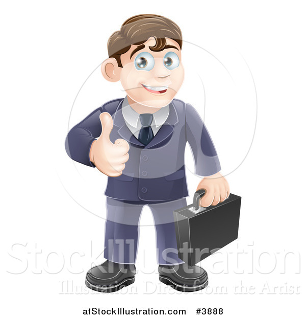 Vector Illustration of a Happy Brunette Businessman Holding a Thumb up