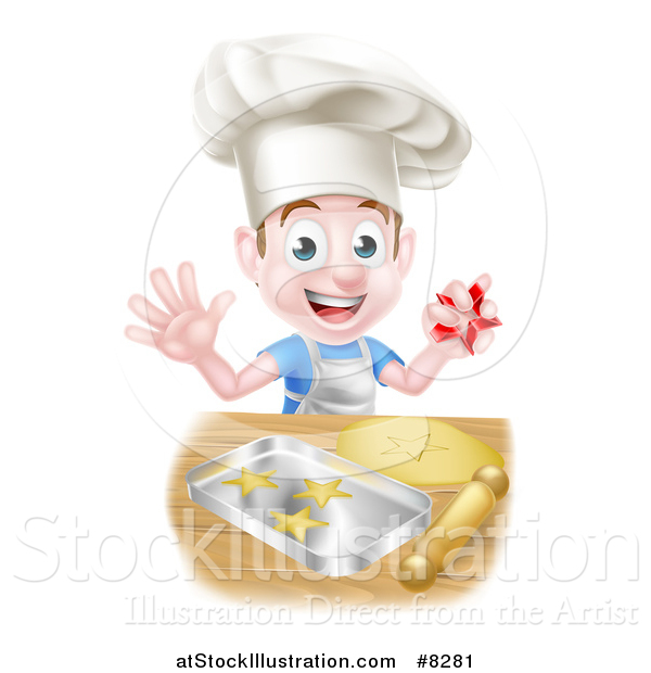 Vector Illustration of a Happy Brunette Caucasian Boy Baking Cookies