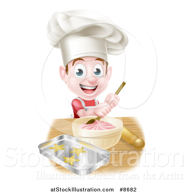 Vector Illustration of a Happy Brunette Caucasian Boy Wearing a Chef Hat and Making Frosting and Baking Cookies