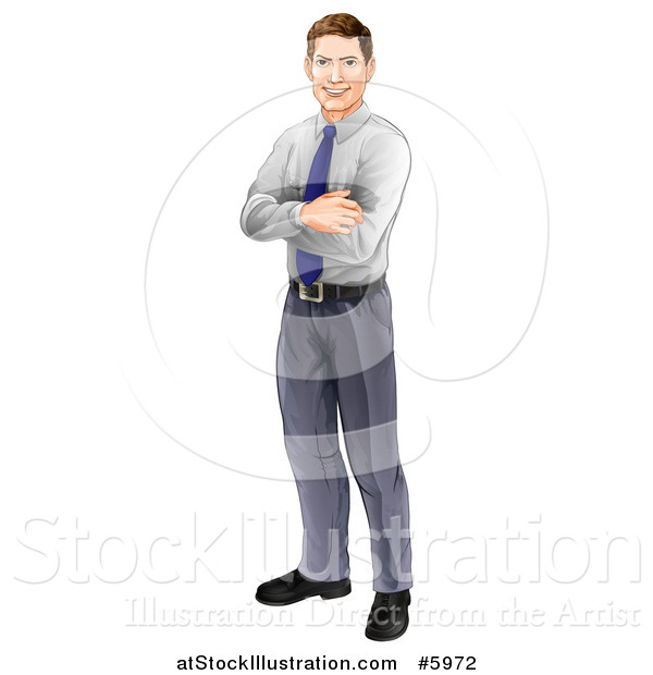 Vector Illustration of a Happy Brunette Caucasian Businessman Standing with Folded Arms