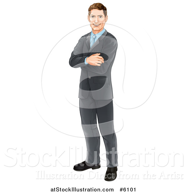 Vector Illustration of a Happy Brunette Caucasian Professional Businessman Standing with Folded Arms