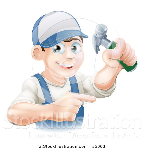 Vector Illustration of a Happy Brunette Caucasian Worker Man Holding a Hammer and Pointing