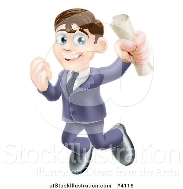 Vector Illustration of a Happy Brunette Graduate Business Man Jumping and Holding a Diploma