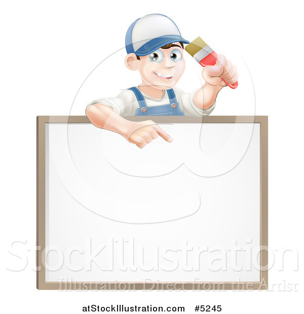 Vector Illustration of a Happy Brunette Male House Painter Holding a Brush and Pointing down to a White Board Sign