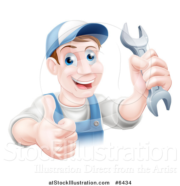Vector Illustration of a Happy Brunette Middle Aged Caucasian Mechanic Man Holding a Wrench and Thumb up over a Sign