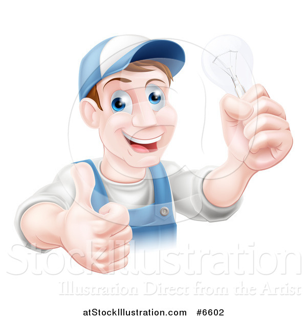 Vector Illustration of a Happy Brunette Middle Aged White Male Electrician Giving a Thumb up and Holding a Light Bulb