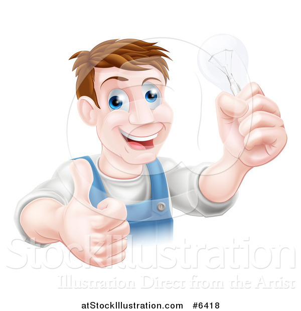 Vector Illustration of a Happy Brunette Middle Aged White Male Electrician Giving a Thumb up and Holding a Light Bulb over a Sign