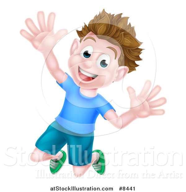 Vector Illustration of a Happy Brunette White Boy Jumping with Excitement and Joy