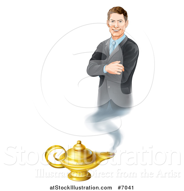 Vector Illustration of a Happy Brunette White Businessman Genie with Folded Arms, Emerging from a Lamp