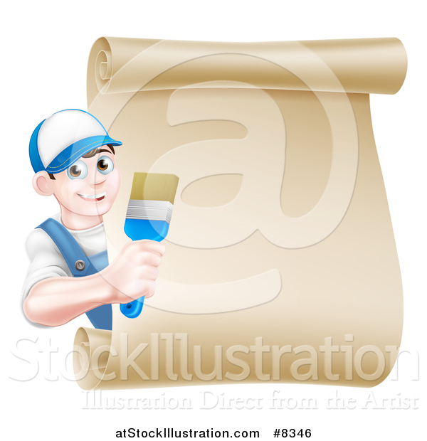 Vector Illustration of a Happy Brunette White Male House Painter Holding a Brush Around a Scroll Sign