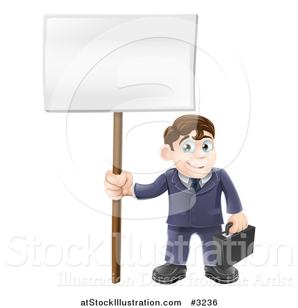 Vector Illustration of a Happy Businessman Carrying a Briefcase and Holding a Sign