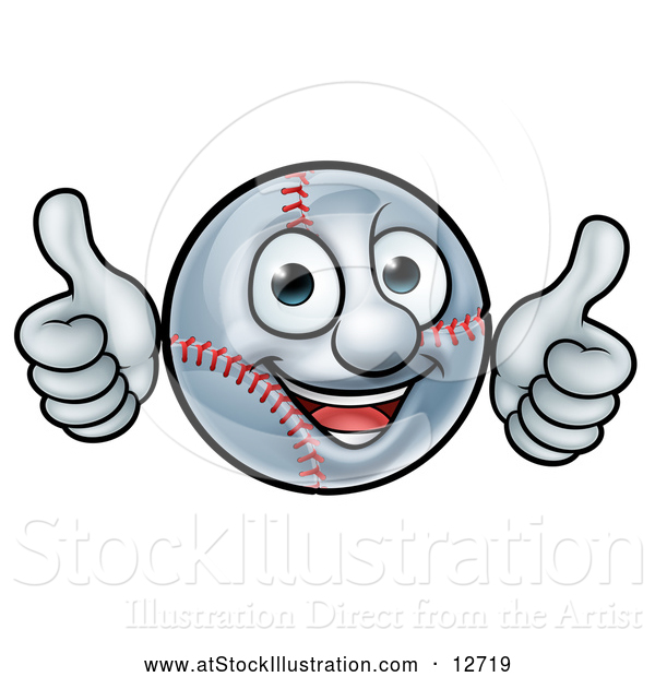 Vector Illustration of a Happy Cartoon Baseball Mascot Giving Two Thumbs up
