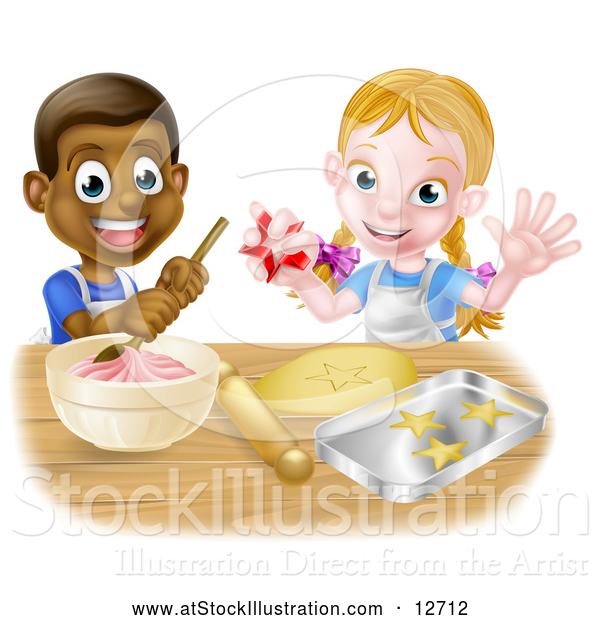 Vector Illustration of a Happy Cartoon Black Boy with White Girl Baking Cookies Together