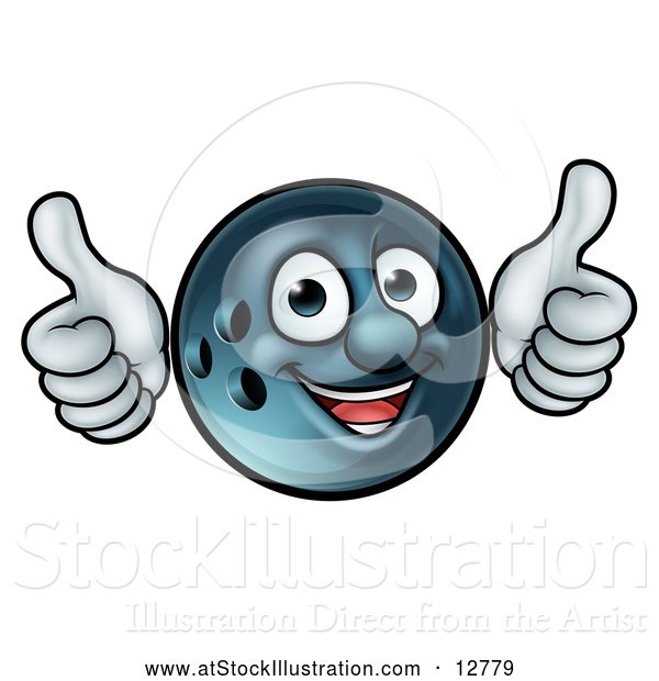 Vector Illustration of a Happy Cartoon Bowling Ball Mascot Giving Two Thumbs up