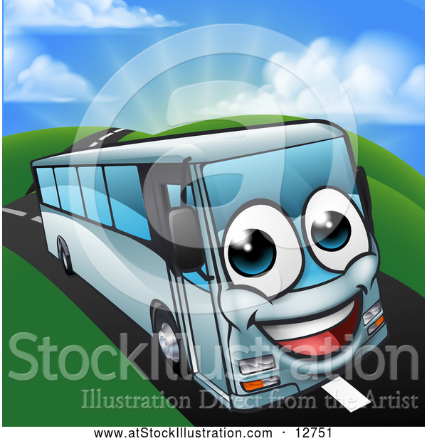 Vector Illustration of a Happy Cartoon Coach Bus Mascot