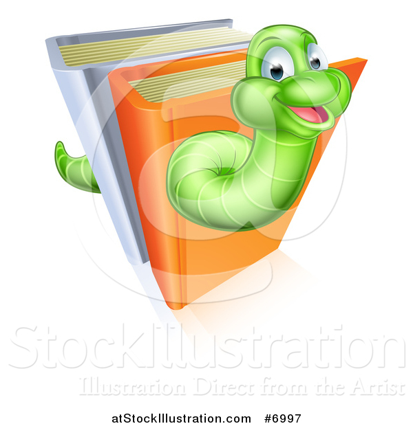 Vector Illustration of a Happy Cartoon Green Worm Going Through Books