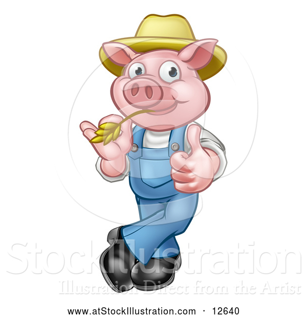 Vector Illustration of a Happy Cartoon Pig Mascot Giving Thumb-up Gesture While Biting Straw
