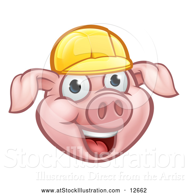 Vector Illustration of a Happy Cartoon Pig Mascot Wearing a Bright Yellow Hard Hat
