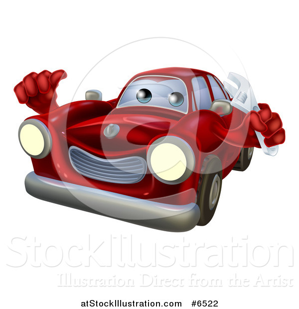 Vector Illustration of a Happy Cartoon Red Car Character Mechanic Holding a Wrench and Thumb up