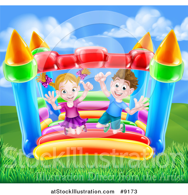 Vector Illustration of a Happy Caucasian Boy and Girl Jumping on a Bouncy House Castle