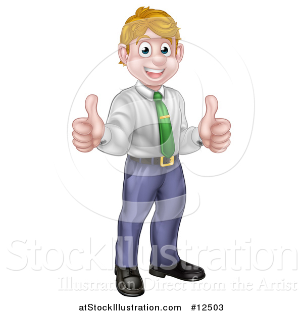 Vector Illustration of a Happy Caucasian Business Man Giving Two Thumbs up