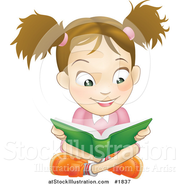 Vector Illustration of a Happy Caucasian Girl Reading a Book and Sitting on the Floor