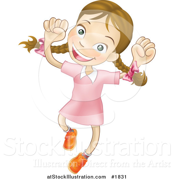 Vector Illustration of a Happy Caucasian Girl Smiling and Jumping into the Air