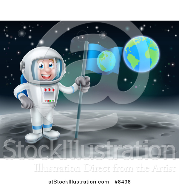 Vector Illustration of a Happy Caucasian Male Astronaut Holding a Flag on the Moon, Earth in the Background