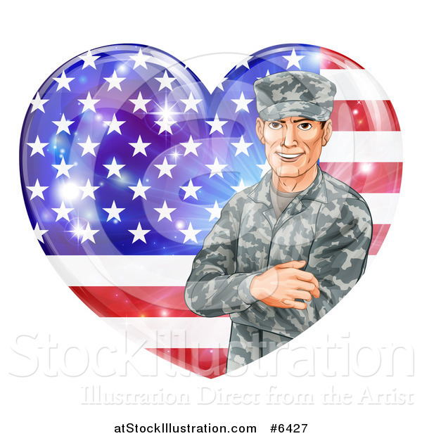 Vector Illustration of a Happy Caucasian Male Military Veteran over an American Flag Heart and Flares