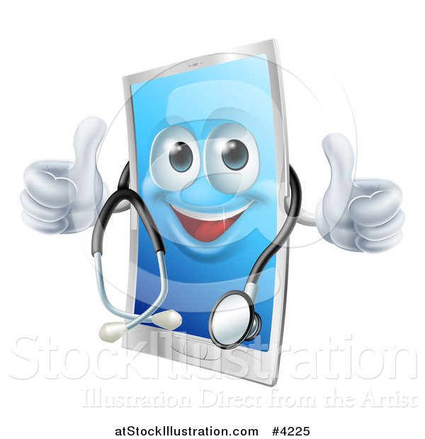 Vector Illustration of a Happy Cell Phone Wearing a Stethoscope and Holding Two Thumbs up