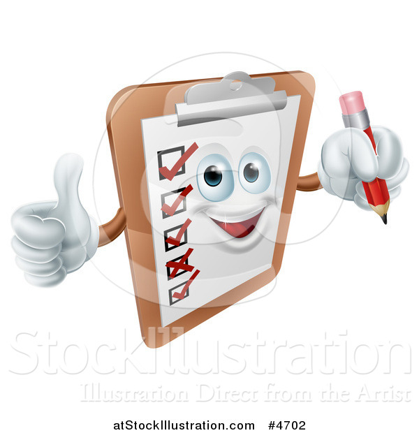 Vector Illustration of a Happy Checklist Clipboard Mascot Holding a Thumb up and a Pencil