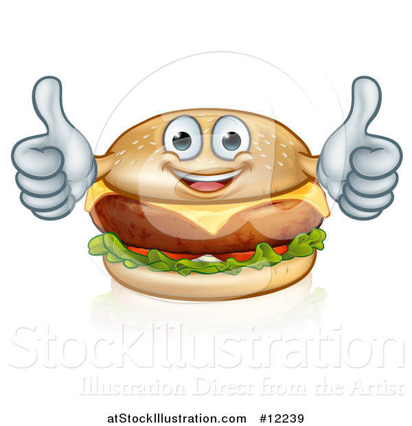 Vector Illustration of a Happy Cheese Burger Mascot Holding Two Thumbs up