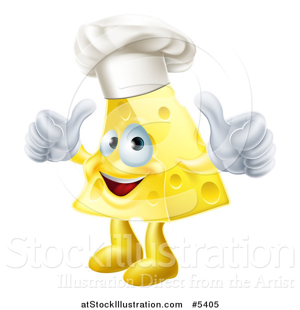 Vector Illustration of a Happy Cheese Chef Holding Two Thumbs up
