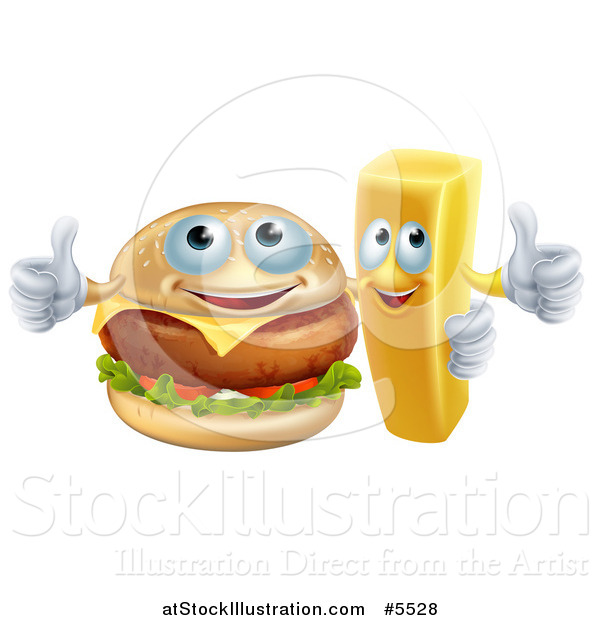 Vector Illustration of a Happy Cheeseburger and French Fry Holding Thumbs up