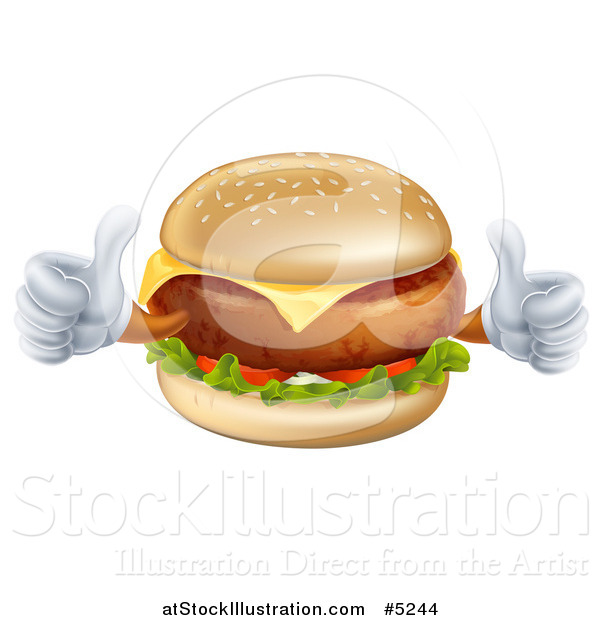 Vector Illustration of a Happy Cheeseburger Character Holding Two Thumbs up