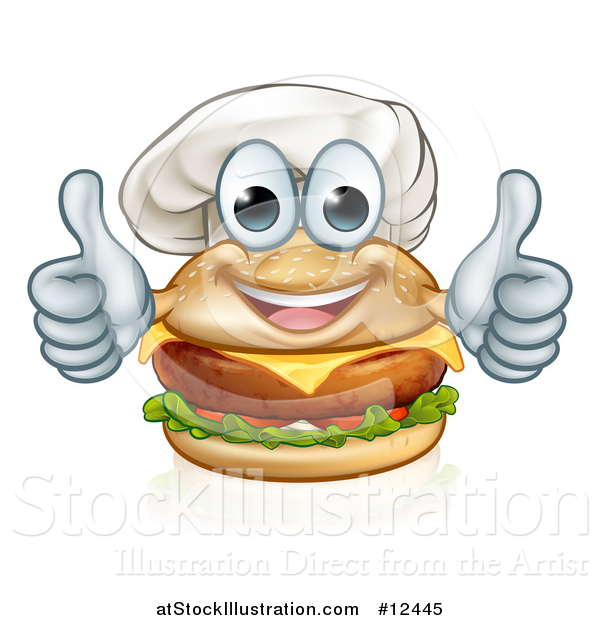Vector Illustration of a Happy Cheeseburger Chef Character Giving Two Thumbs up
