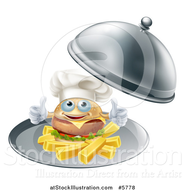 Vector Illustration of a Happy Cheeseburger Chef Holding Two Thumbs up on French Fries in a Platter