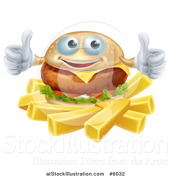 Vector Illustration of a Happy Cheeseburger Holding Two Thumbs up over French Fries