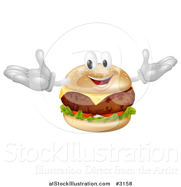 Vector Illustration of a Happy Cheeseburger Mascot