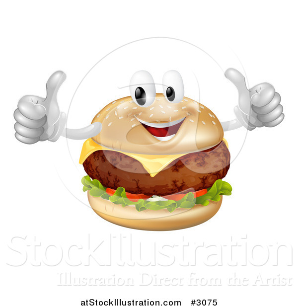 Vector Illustration of a Happy Cheeseburger Mascot Holding Two Thumbs up